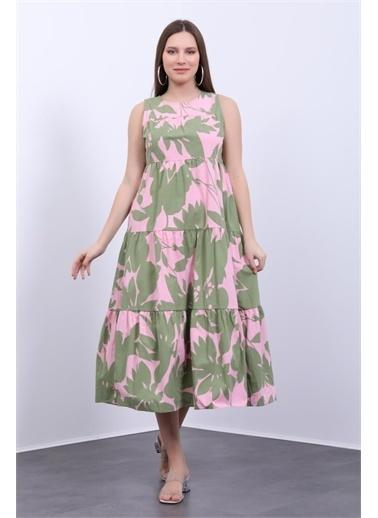 Deri Effect Kadın Tropikal Yaprak Desenli Yazlık Elbise Yeşil